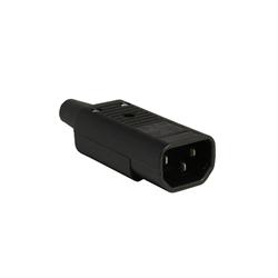 IEC Plug E, C14, Cord Connector, Rewireable, Straight