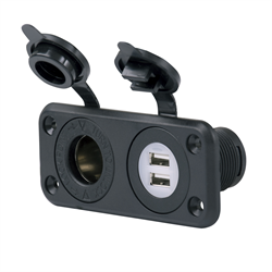 Marinco - SEALINK® - 12V Dual USB Charger & Receptacle w/ Mounting Plate