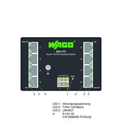 WAGO - Ethernet Switch 8 Port 10/100 Din Rail 18-30 vdc